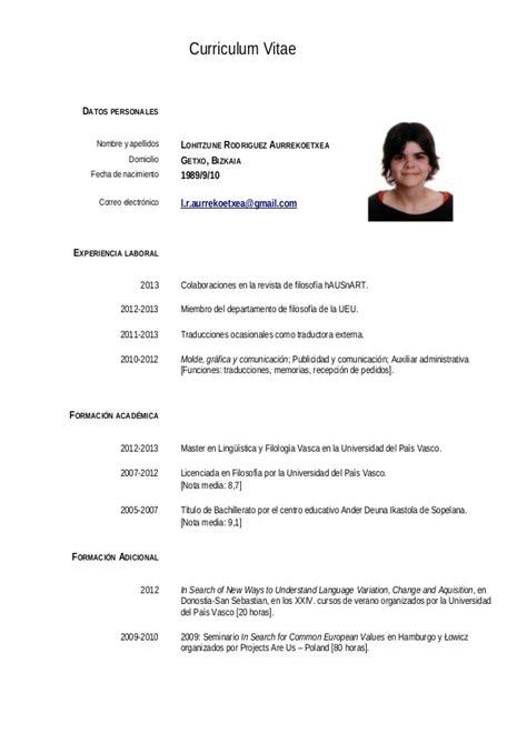 Templates De Resume En Espanol by 2