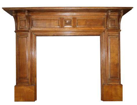 Antique Edwardian Oak Wood Mantel Fireplace Surround