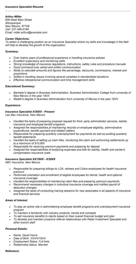 Insurance Company Resume Objective by Insurance Specialist Resume Sle Career Objective
