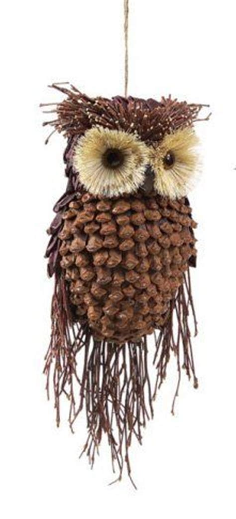 owl creations from pine cones and fluff bottle brush ornaments i am about these guys event inspiration