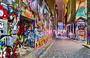 View of colorful graffiti artwork at Hosier Lane in