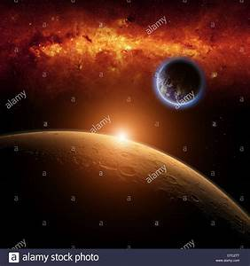 Planets Earth and Mars in space, red galaxy, bright red ...