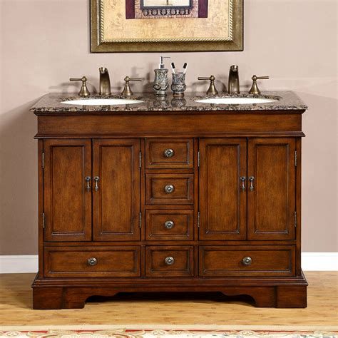 Two Vanities In Bathroom - 48 quot baltic brown granite top lavatory sink bathroom