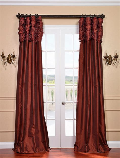 paprika ruched faux solid taffeta curtain contemporary