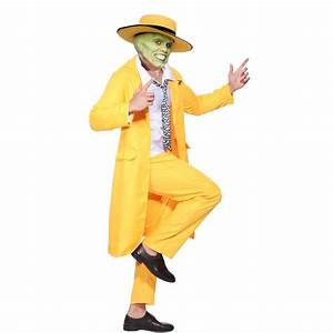 Jim Carrey The Mask Fancy Dress Costume Yellow Gangster ...