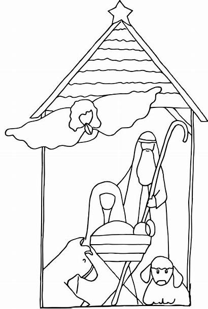 Jesus Coloring Pages Nativity Christmas Simple Printable