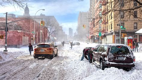 Winter New York Wallpaper 1920x1080 by Landscapes Winter Season Snow Cityscapes Streets