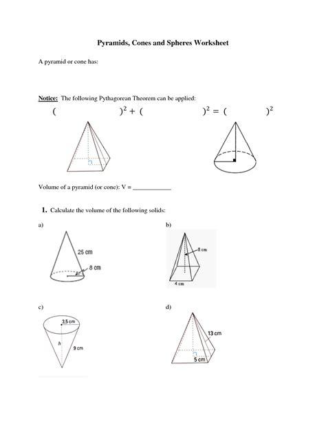 free printable volume of cylinders cones and spheres