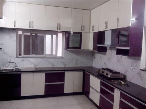 amazing  shaped kitchen layout  white  purple