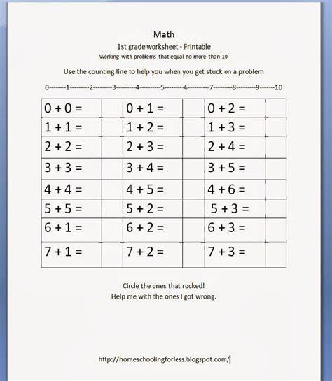 Homeschooling For Less 1st Grade Math Worksheet  Free Printable
