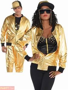 Adult Gold Bomber Jacket Mens Ladies 80s Hip Hop Rapper ...