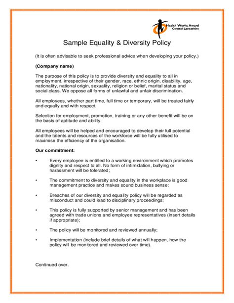 sle equality diversity policy free