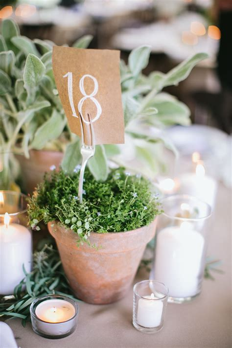 Vintage Garden Wedding With Potted Herb Centerpieces
