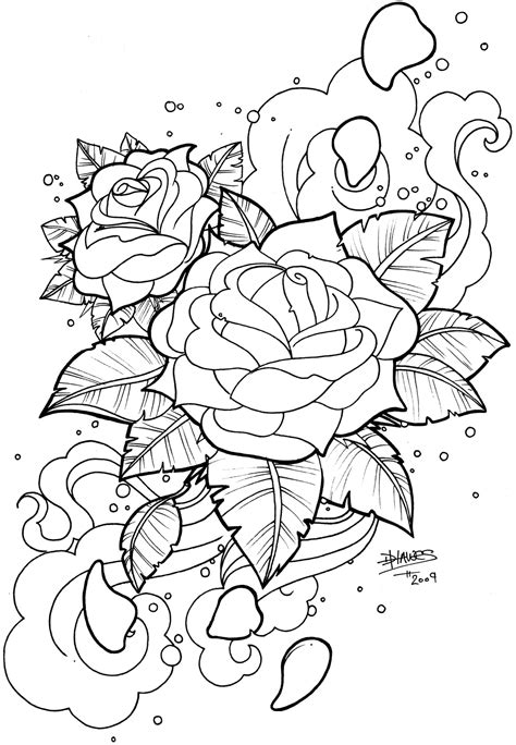Snake Skull Rose Tattoo Snake n' skull - b&w | Rose coloring pages, Flower coloring pages