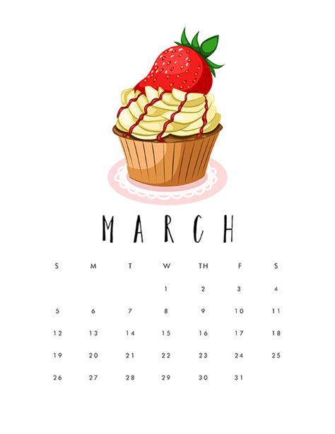 printable  cupcake calendar  cottage market