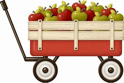 Apple Clipart Fall Cart Clip Hay Vector