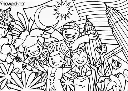 Malaysia Coloring Gambar Mewarna Poster Kebangsaan Singapore