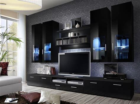 Black Living Room Wall Units by High Gloss Tv Wall Unit Tv Cabinets Tv Stand Living