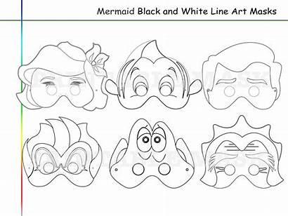 Mermaid Coloring Printable Mask Masks Props Line