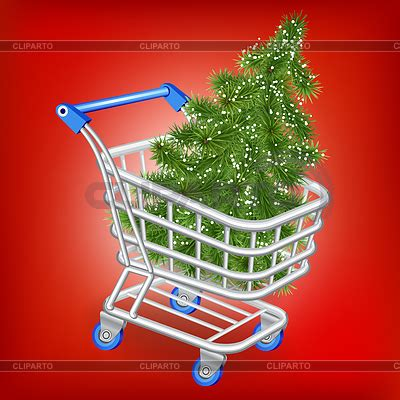shopping cart christmas tree christmas tree in shopping cart ベクターイラスト cliparto 1406
