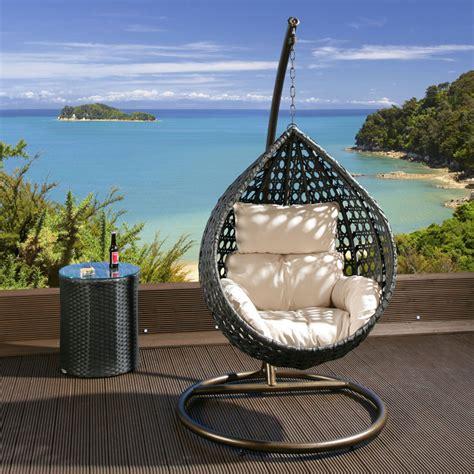 luxury outdoor garden hanging chair black rattan
