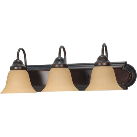 home depot vanity lights glomar 3 light mahogany bronze vanity light with chagne