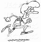 Running Cartoon Track Woman Coloring Runner Pages Outline Vector Drawing Leishman Printable Ron Getcolorings Service Print sketch template