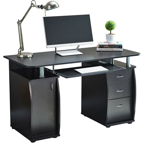Buy Small Computer Desk by Raygar Black Computer Desk With Cabinet And 3 Drawers For