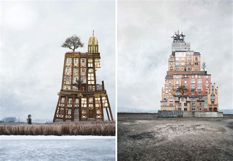 unusually beautiful architectural collages  matthias