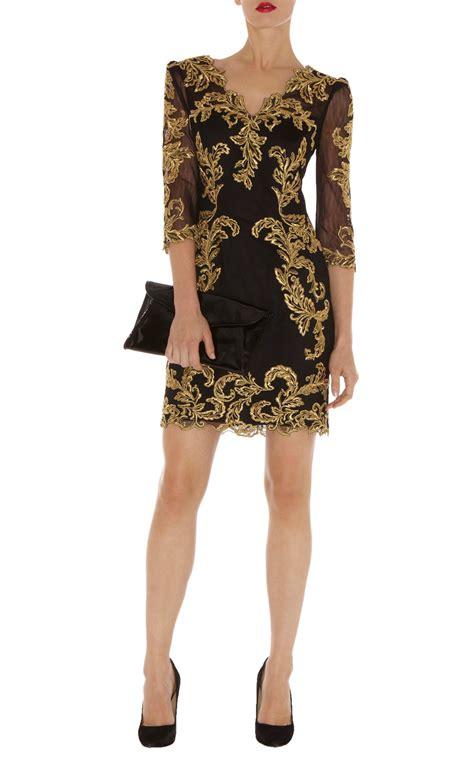 karen millen baroque mesh dress  black lyst
