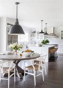 Round Gray Trestle Dining Table with White Wishbone Chairs