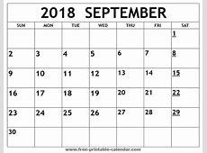 Printable 2018 September Calendar