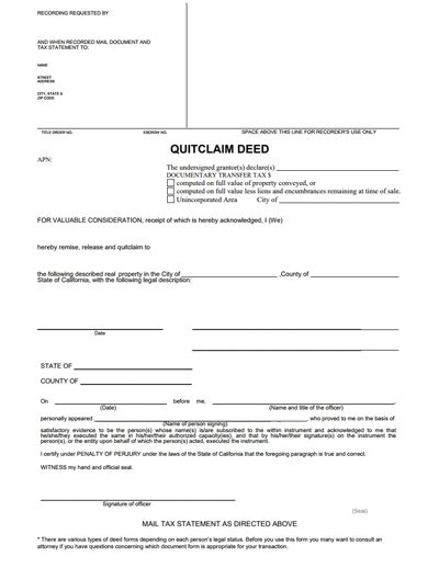 quick deed form free printable free quit claim deed business mentor