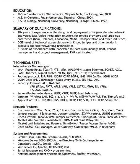 networking engineer resume format  samples