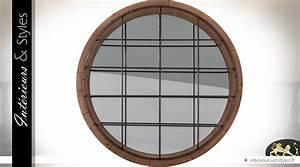 Rond En Bois : grand miroir rond industriel en bois et m tal 122 cm int rieurs styles ~ Teatrodelosmanantiales.com Idées de Décoration