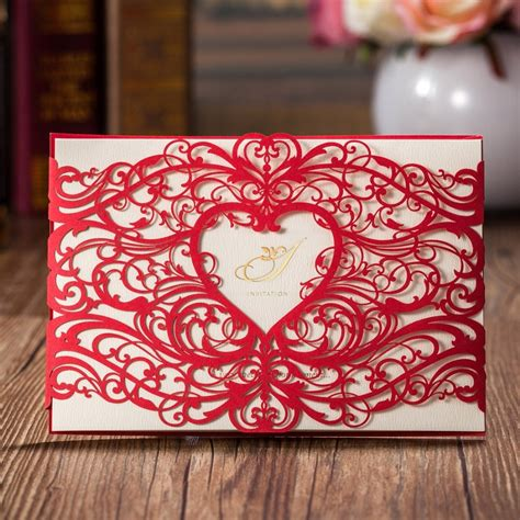 Laser Cut Wedding Invitations Card Gold Red Hollow Heart