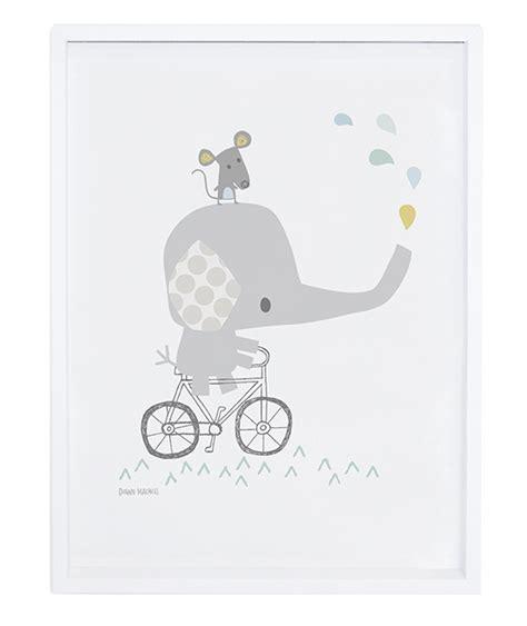 poster chambre fille affiche bébé éléphant sur vélo