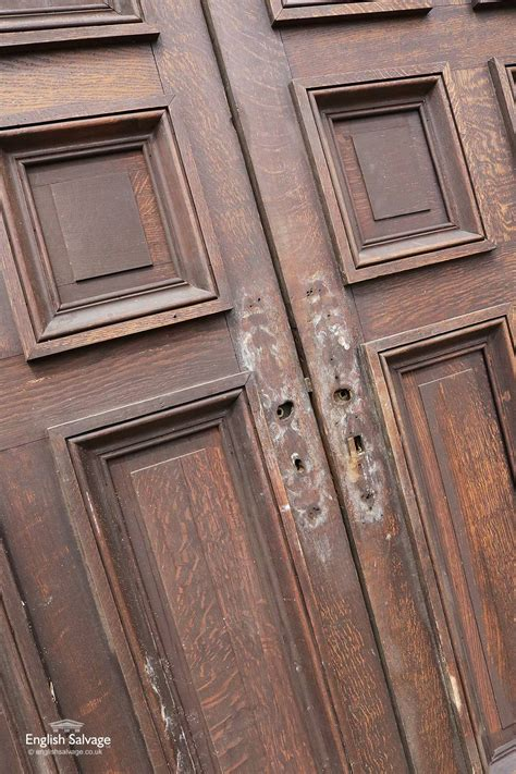 antique french oak tall double  panel doors