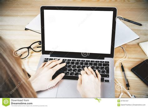 Girl Typing A Text With Laptop, Smartphone And Coffee Mug