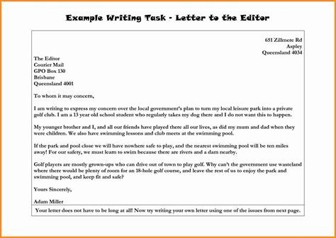 formal letter  news editor letters  sample letters