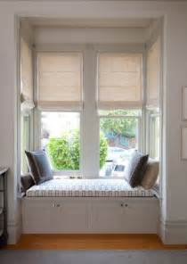Garden Bench Cushions Made To Measure by Motorized Roman Shades In A Bay Window And Built In Window