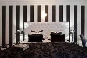 Papier Peint Rayé Noir Et Blanc : papier peint raye noir et blanc ~ Dailycaller-alerts.com Idées de Décoration