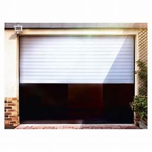 Porte de garage enroulable motorisee gris anthracite lames for Porte de garage enroulable avec ouverture de porte paris