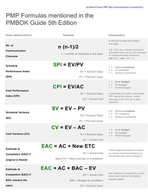 pmp formulas cheat sheet pmbok guide  edition edward