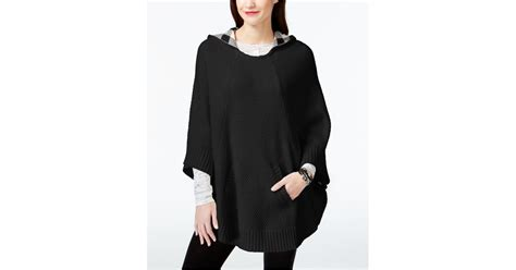 Womens Hooded Sweater Poncho