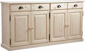 Meuble Buffet Cuisine : buffet 4 portes 4 tiroirs en bois brut ~ Teatrodelosmanantiales.com Idées de Décoration