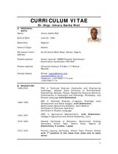 Updated Resume Format For Fresh Graduate by Cv Format In Nigeria Resume Template Exle
