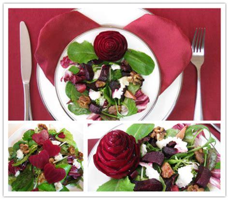 romantic diy beet salad  carved rose