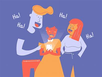 Laughing Animated Vector Animation Friends Socializing Phone