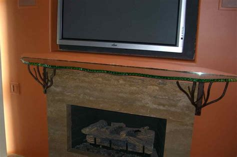 Fireplace Mantel Shelf Sans Soucie Art Glass, Metal Mantel